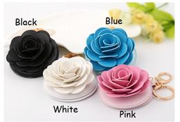 Wholesale 2016 New Women Gifts Cute Make Up Mirror Elegant women mirror Rose Leather Key Chain Car Keychain Key Ring Bag Purse Charm ZA0094