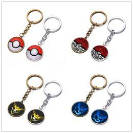 Poke go Pikachu Keychains Halder Key Chains Rings Cartoon Anime Keychain key chain Keyring Keyrings kids toys Christmas Party Gift wholesale