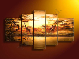 Wholesale High Quality Yellow Africa Giraffe Tree Oil Painting On Canvas pc Set Home Landscape Wall Art Decoration Modern For Living Room