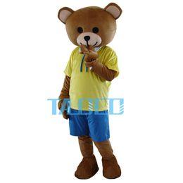 Teddy Bear In Shirt Shorts Adult Cartoon Mascot Costume