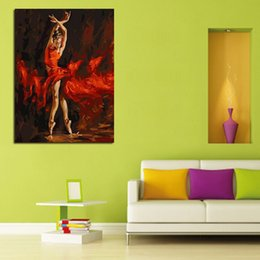 Wholesale Modern Figure Wall Art Dancing Girl with Red Skirt Canvas Oil Painting On Canvas Wall Art Decor Art Picture