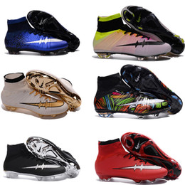 Wholesale New Man Mercurial Superfly CR7 FG Soccer Cleats Magista Obra Soccer Shoes Outdoor Champions League Football Boots Hypervenom II Cleats