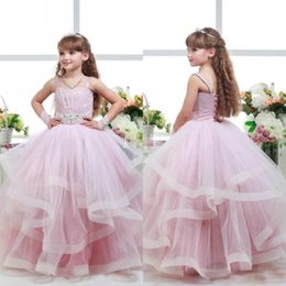 Wholesale Kids Pink Corset - Purple Pink Lovely Puffy Girl's Pageant Dresses Straps Ruched Ruffles Tulle Floor Length Kids Formal Gown with Beads Crystals Corset Back