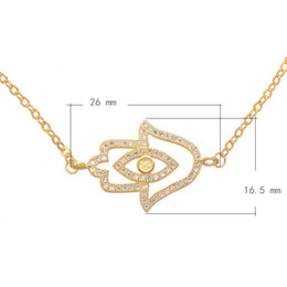 CZ Micro Pave Brass Bracelet With 1.5lnch Extender Chain Hamsa Plated More Colors For Choice 26x16.5mm Length:9.5Inch 1PCS Lot