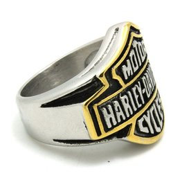 Wholesale Hot good quality L stainless steel mens golden silver biker ring wonderful jewelry