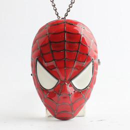 Spiderman Spider-Man Máscara colgantes del reloj de bolsillo de los relojes de cuarzo reloj medallón de un tirón para las mujeres hombres niños regalo de Navidad 230208 desde mujer del reloj del collar fabricantes