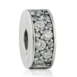 2017 New Shining Elegance Clip Charm Bead Fits Brand Bracelets 925 Sterling Silver Pave AAA Clear CZ Stopper Beads DIY Pandora Jewelry HB647