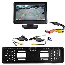 "Wireless Car Rear View Kit 4.3"" TFT LCD Monitor + Rear View Camera Universal EU European License Plate Frame Wireless Car Rear View"