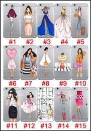 Dame ville en Ligne-15 Modern Style Ville Lady Cristal Robe de mariée Café Vin Fashion Show Bikini TPU Effacer souple cas Couverture arrière pour iPhone 5 5S SE 6 6S plus