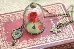 Wholesale 12pcs Beauty and The Beast Enchanted Rose Inspired Necklace Rose Glass Dome bronze tone mirror charm