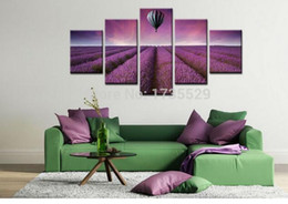 Wholesale 5 Piece Modern Wall Art Home Decor Purple Lavender With Hot Air Balloon Large Living Room Oil Painting Pictures on Canvas Prints