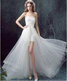 Wholesale 2016 Wedding Dresses Detachable Vintage Strapless Sweep Train Short Front Long Back Affordable Unique Wedding Dress Custom Made