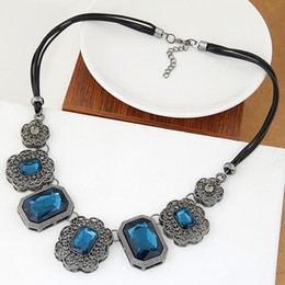 Korean Maxi Jewelry Necklace Black Rope Chain Cubic Glasses Statement Collar Choker Necklace For Women Dress Collier