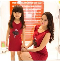 Wholesale 2016 Red Skirt Suit set Parent child outfit sundress child dress bead piece embroidered handmade sequins ballet skirt