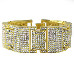 3 colors 14k gold iced out micropave simulate diamond men hip hop adjustable bracelet for men