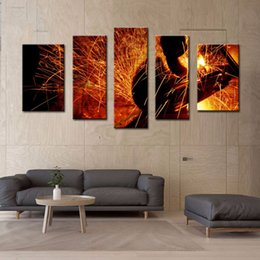Wholesale LK594 Panel Wall Art Sparks Flew During Welding Car Bottom Painting Pictures Print On Canvas Abstract The Picture For Home Modern Decorati