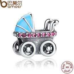 Wholesale BAMOER New Spring Collection Sterling Silver Baby Stroller Blue Car Charms fit Pan Bracelet DIY Accessories SCC010