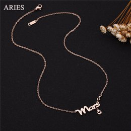 Wholesale New Arrival Top Quality L stainless steel pendant necklace ARIES Zodiac Signs Charm Necklace For Birthday Gift