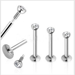 Wholesale Mix mm wholesales Fashion Stainless Steel Internally Threaded Lip Piercing Labret Ring Body Jewelry Tragus Bar