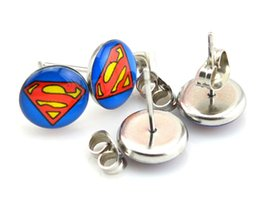 Drop Shipping 18 pairs 10mm Super Man Symbol High Quality Stainless Steel Stud Earrings,Fashion Earring Stud,Stainless Steel Earring #30378