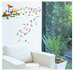 Wholesale 24Pieces Cartoon notes music stickers Tree bird wall stick children bedroom wall decal school decoration