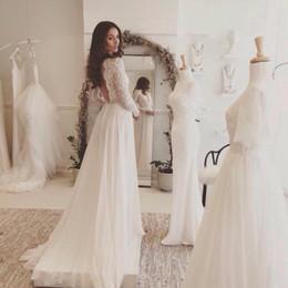 Wholesale Lace and Chiffon Beach Wedding Dress Long Sleeve Rustic Wedding Dress Vestidos de Noivas para Casamento