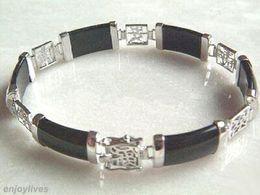 2016 new of Peking, China jade bracelet <<Black Agate 18KWGP Fortune Emolument Longevity Property Luck Link Clasp Bracelet