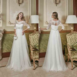 Wholesale Simple Long Dresses For Beach - 2017 Empire Waist Maternity Wedding Dress for Pregnant Women Lace Wedding Dresses Appliques Half Sleeves Tulle Floor Length Bridal Gowns