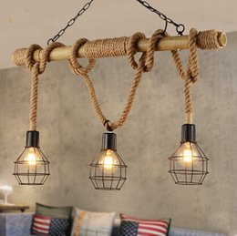 Wholesale DHL Free Three head Rope Bamboo Chandelier of American Garden style decorate for coffee shop Clothing store Bar counter restaurant
