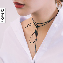chokers necklaces for women Simple wild long necklaces tidal range models wild pearl necklaces free shipping