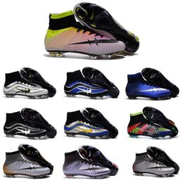 Wholesale 2016 Hot sale Mercurial superfly FG Soccer Shoes CR7 Superfly Mens Football Boots High Ankle Soccer Cleats socks Gold Blue Orange Size