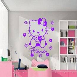 D611(W125) HELLO KITTY fairy Personalised Wall Sticker Art Decal Mural Vinyl butterfly for girl's room decor