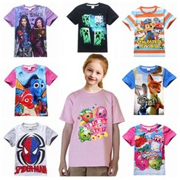Wholesale Spiderman Poke Minions Cotton Short Sleeve T shirts Kids Clothes Baby Boys Girls patrol Tops Children Tees Clothing