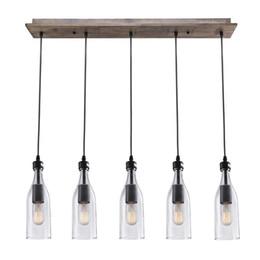 Wood Pendant Light 5 Lights Ceiling Light, Linear Chandelier Lighting, Vintage Rustic Style Island Kitchen lamp, DIY Lighting