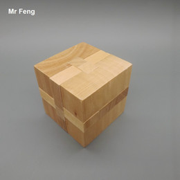 Wooden Cube Toy Square Kong Ming Lock Puzzle Educational Game