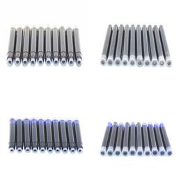 Cartuchos de tinta de la fuente al por mayor en Línea-Venta al por mayor-Venta al por mayor 10pcs Desechables Azul y negro cartucho de tinta de la pluma Recargas Longitud Fountain Pen Cartucho de tinta Recambios