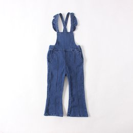 Wholesale Casual Kids Denim - Fashion Kids Girls Denim Flare Overalls Baby Girl Wash Blue Casual Suspender Pants 2016 Babies Autumn Winter Christmas Clothing