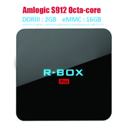 Wholesale Streaming Media Player R BOX Pro S912 Android Octa Core Smart TV Box G G Dual WIFI Bluetooth M LAN DLNA Miracast AirPlay