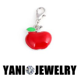 Wholesale Enamel Apple Floating Charm Pendant with Lobster Clasp Alloy Floating Locket Charm for Living Glass Locket