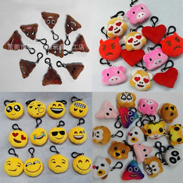 Wholesale Plush Toy Emoji Expression Keychains Hedgehog Pendant Poo key chain Pink Pig Hearts Reds Widgets