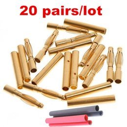 Wholesale 20pairs mm mm RC Gold Bullet Connector Battery ESC Banana Plug with Heat Shrink Tubing