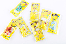 PokéMon Go Keychains Anime Poke Pocket Monsters Eevee Series Pikachu Key Ring Pendant Action Figures 3D Keyring With Retail Package Free DHL