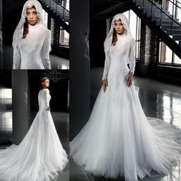 Wholesale 2016 Designer White High Neck Arab Wedding Dresses A Line Long Sleeves Lace Muslim Hijab Wedding Dress