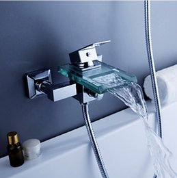 Wholesale Wall Mount Waterfall Glass Spout Bathtub Faucet One Handle Mixer Tap Chrome Finish