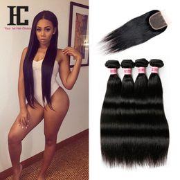 Wholesale Brazilian Virgin Straight With Closure Unprocessed Brazilian Straight Hair Bundles With Closure Brazilian Human Hair Weave HC Products