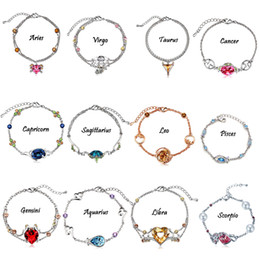 Hot sale 12 constellations crystal charm bracelets New retro bracelet & Bangles for women European bracelet Fashion Jewelry