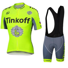 Wholesale Tour De France Tinkoff Saxo Cycling Jerseys Short Sleeve Road Bicycle Wear Seven Pieces Set With Gloves Arm Leg size xl xl
