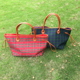 Wholesale Cotton Tartan Fabric Wholesale - BLANKSMALL Wholesale Free Shipping Cotton Canvas Plaid Tote Bag Women Handbag In Red Navy 2 Colors Christmas Bag DOM377