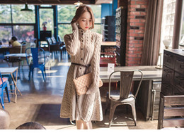 Wholesale Cute Casual Dresses For Winter - New for Autumn Winter Womens Knit Dress Vestidos High Quality Brand Casual Fashion Cute Vintage Sweater Dress Outwear 16800