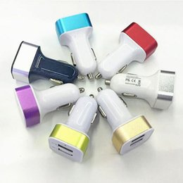 Best Metal Dual USB Port Car Charger 2.1A 1.0A Colorful Power Adapter for iPhone iPad iPod Samsung